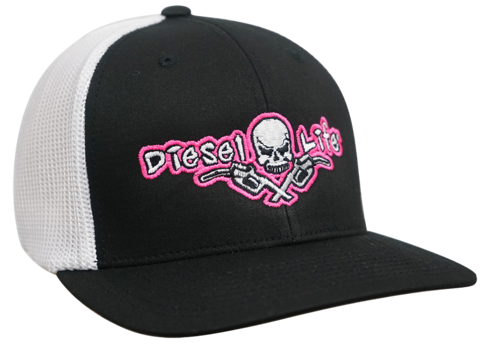 Diesel Life Women's Black and Pink Flex Fit Trucker Hat