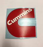 Cummins Red and White Decal